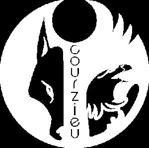 Logo blanc du parc animalier de courzieu